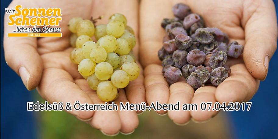 Ihr Gutschein für den Edelsüß & Österreich Menü-Abend am 07.04.2017