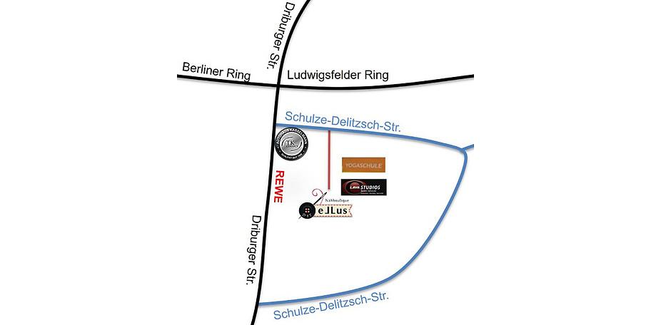 Du findest uns direkt hinter dem Autohaus Kasselmann. Unsere Nachbarn sind u. a. die Yogaschule Paderborn bzw. die Lava Studios.