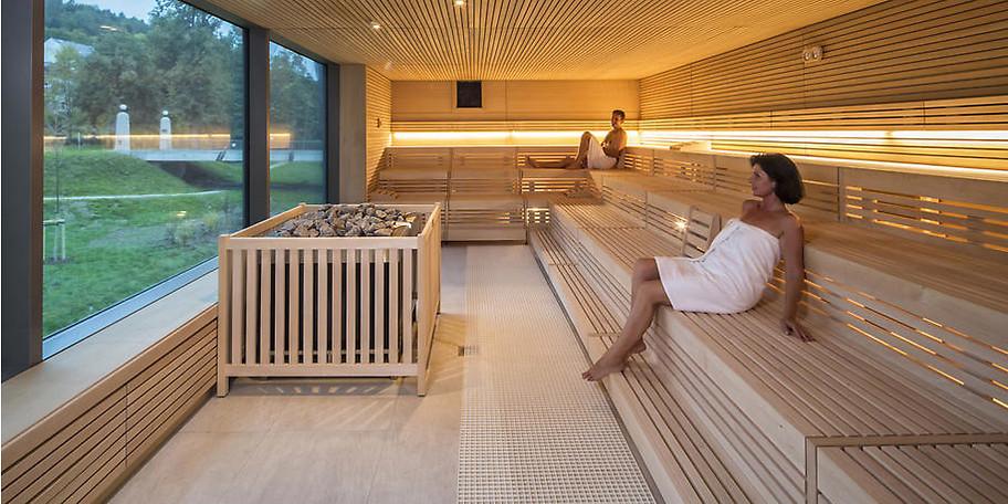 In der Sauna des Hotels können Sie die Seele baumeln lassen