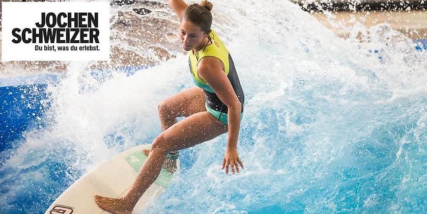 Gutschein für Die ganze Welle exklusiv Mo-Fr – nur für kurze Zeit zum halben Preis surfen! von Jochen Schweizer Arena