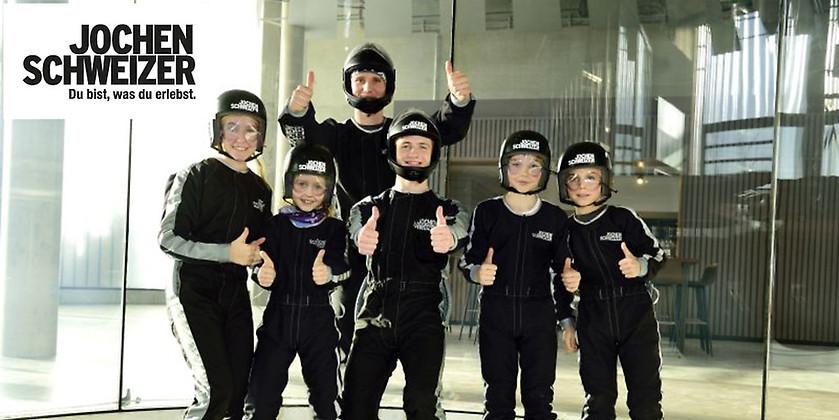 Gutschein für Bodyflying Kindergeburtstag für 8 Kinder –  nur für kurze Zeit zum halben Preis feiern & abheben! von Jochen Schweizer Arena